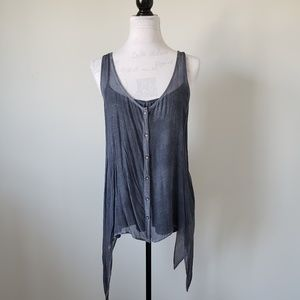 DKNY Sheer Button Up Tank Top with Cami Womens XL
